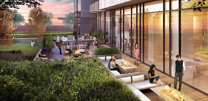 Huge outdoor spaces at the Burnaby Brentwood Two condo high-rise development.