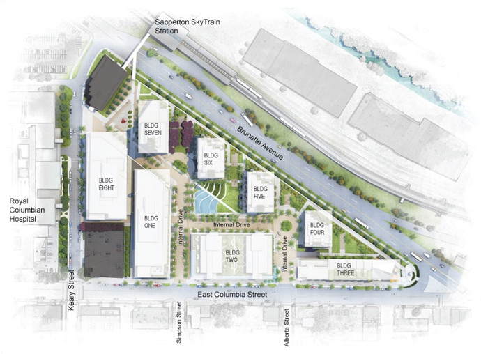 Siteplan master plan of the pre-construction New Westminster Brewery District condo project.