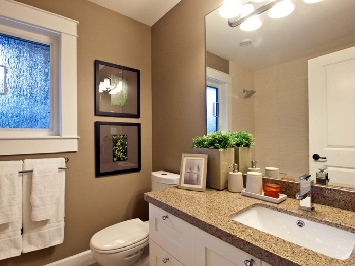 Beautiful bathrooms at the North Vancouver BRIDGE Lynn Valley duplex homes.