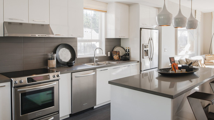 Beautifully designed kitchens at the Craftsman style Coquitlam Townhouses at Bridlewood by Polygon Homes.