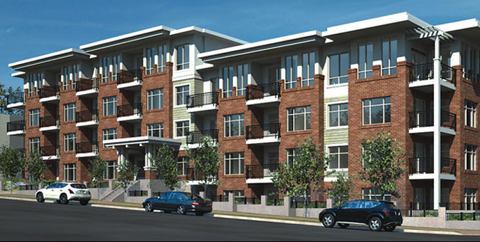 a building render of the North Surrey real estate development at The Brookland Condos.