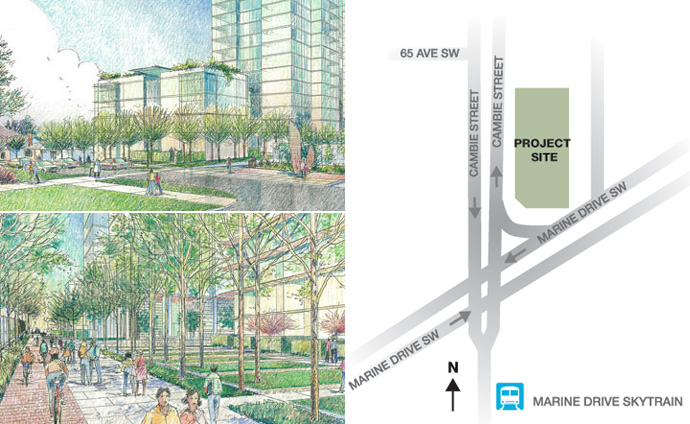 Renderings of the 2 Vancouver CambiePlace condo high-rise towers.