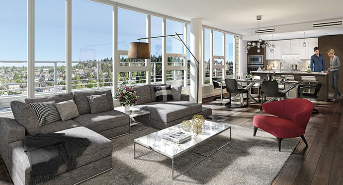 Portico Design Group interiors at Cambie Star Vancouver West Side Condos.