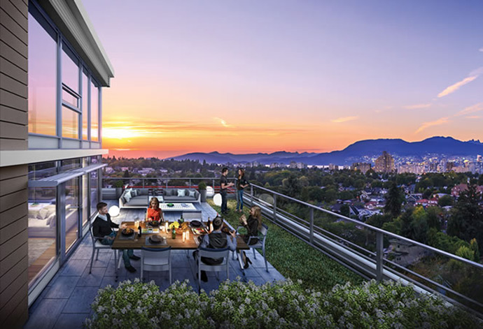 Great outdoor living space at CambieStar Condos by Yuanheng Developments.