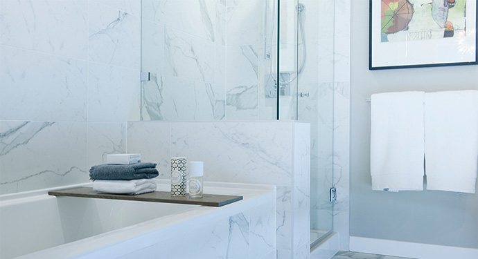 Luxurious bathroom features at the CAMBRIA Vancouver Westside condos for sale.
