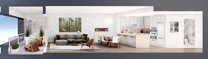 Cross-section of the boutique MOSAIC CAMBRIA Vancouver apartment floor plans now available.
