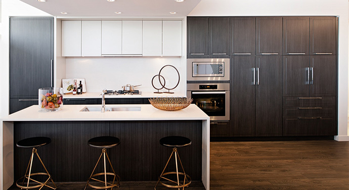 Choose between the GOLD Collection or CAMBRIA Platinum Collection kitchen features.