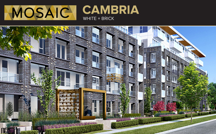 White and Brick architecture at the new Westside Vancouver CAMBRIA by MOSAIC apartment residences at Langara Oakridge.