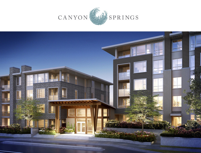 Polygon Canyon Springs North Vancouver condos for sale is a boutique low-rise located in the presale Lynn Valley real estate market.