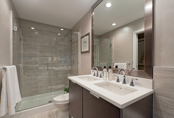 Beautiful bathrooms at the presale Richmond Capstan Village condo project.