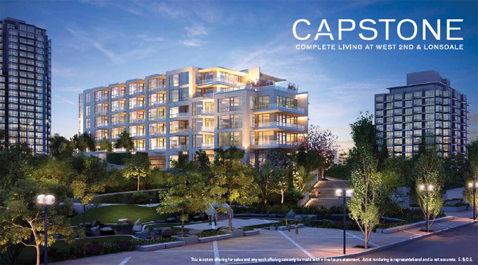 First rendering of the boutique North Vancouver condos at Capstone Lower Lonsdale by Fairborne Homes.
