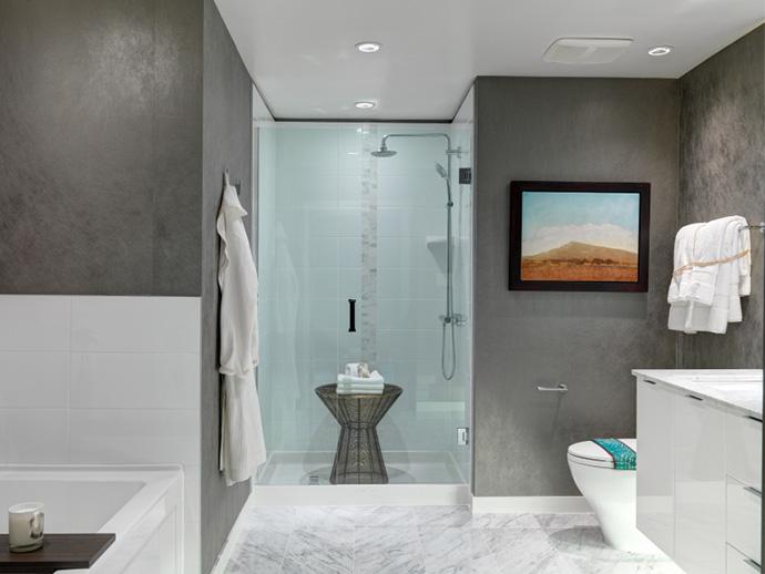 Luxury bathrooms at Carrera Minoru Park condominiums.