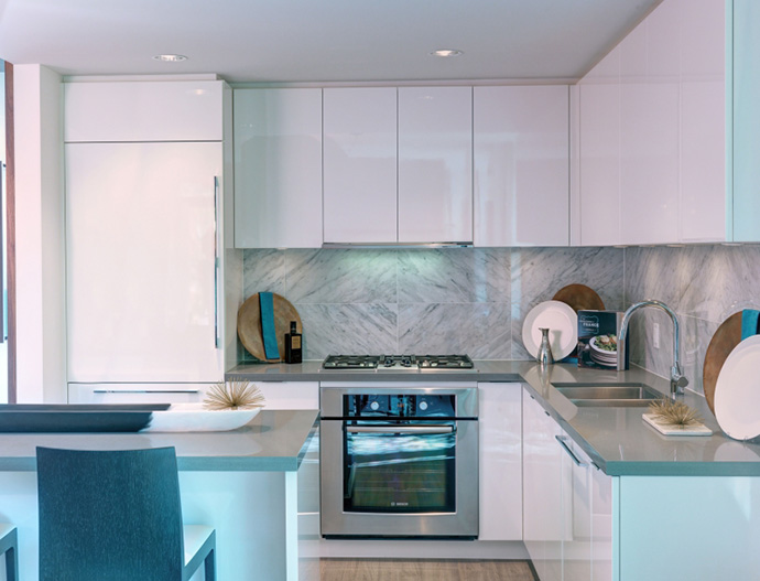 Gourmet kitchen finishes at the presale Richmond Carrera Phase 2 condos for sale.