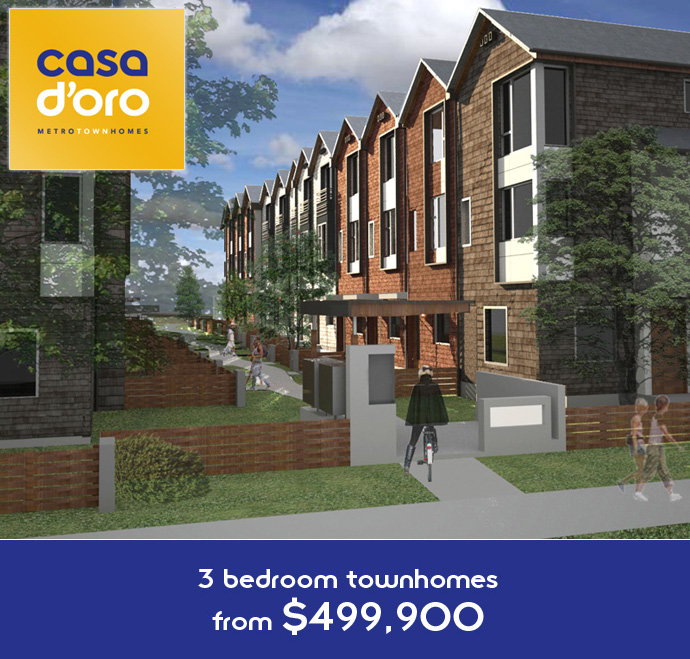 Rendering of the new Metrotown Burnaby Casa D'Oro townhome project facade.