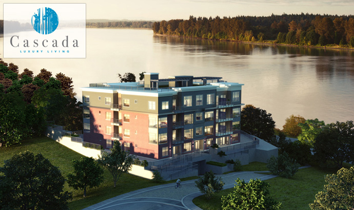 Building rendering at the ultra luxury Maple Ridge condos at The Cascada.