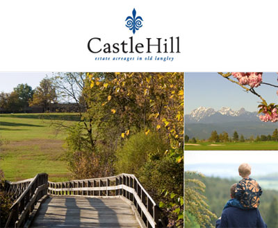 The pre-sale Castle Hill Langley Estates Homes and Langley Acreage Lots and Homesites is a prestigious new development consisting of custom crafted homes at the original Castle Ziegler.