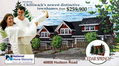 The pre-sale Chilliwack Cedar Springs townhouses are the first phase homes that are now nearing completion and sell-out.