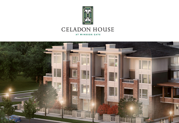 Coquitlam Celadon House at Windsor Gate low rise apartments by Polygon.