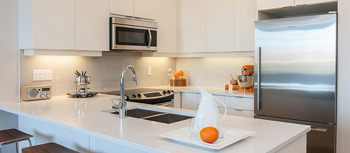 Exceptional kitchen finishes at the Liberty CentreBlock at UniverCity SFU real estate development.