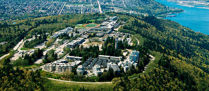 Masterplanned UniverCity Burnaby Mountain community from a bird's eye view.