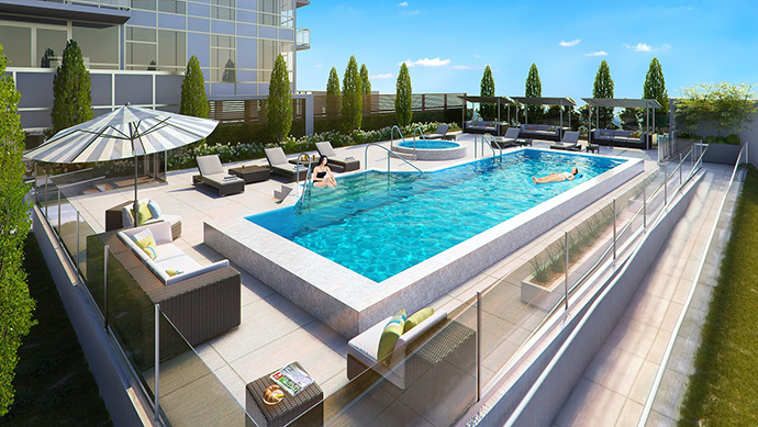 North Vancouver's CentreView Wellness Centre amenities include an outdoor swimming pool and pool deck.