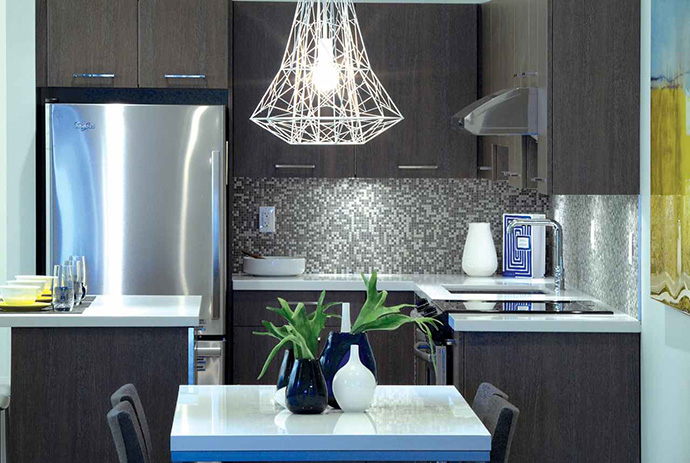 Beautiful kitchens grace the pre-construction Coquitlam apartments at Charland near the Evergreen SkyTrain Line.