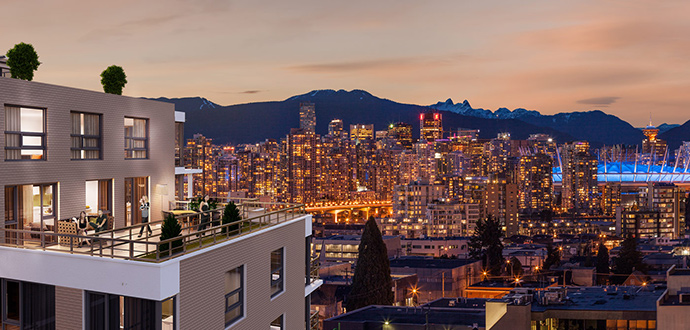 Oversized outdoor living space including some homes with rooftop terraces at Citti Vancouver West Side condos.