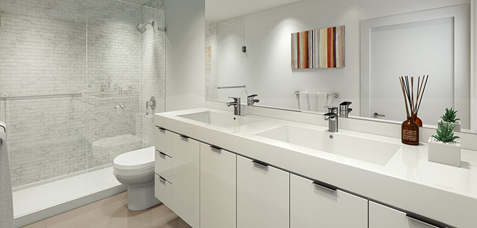 Spa inspired ensuite and main bathrooms at Citti Living in Vancouver Broadway.