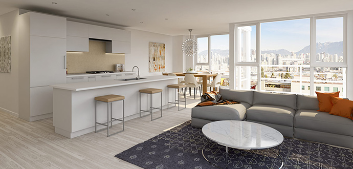 New interior rendering at Cittie Broadway Vancouver City Hall apartments.