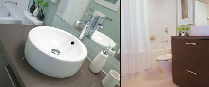 The bathroom finishes are energy and water conserving.