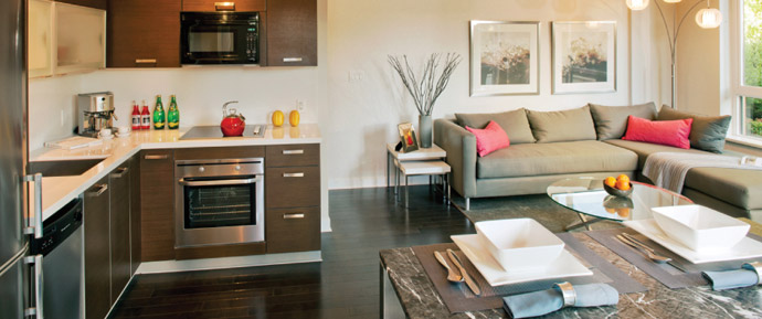 The kitchen and living area at the new Central Surrey Citypoint condo tower.