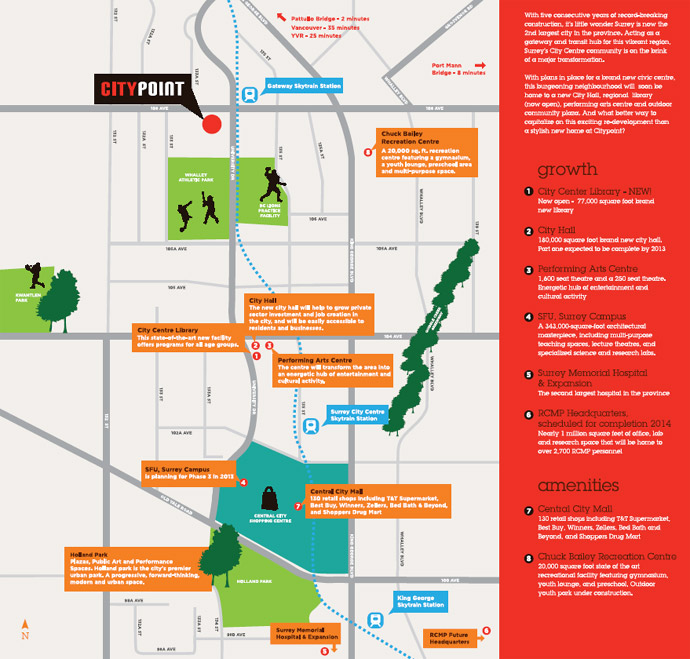 The Central Surrey City Centre real estate neighbourhood map.