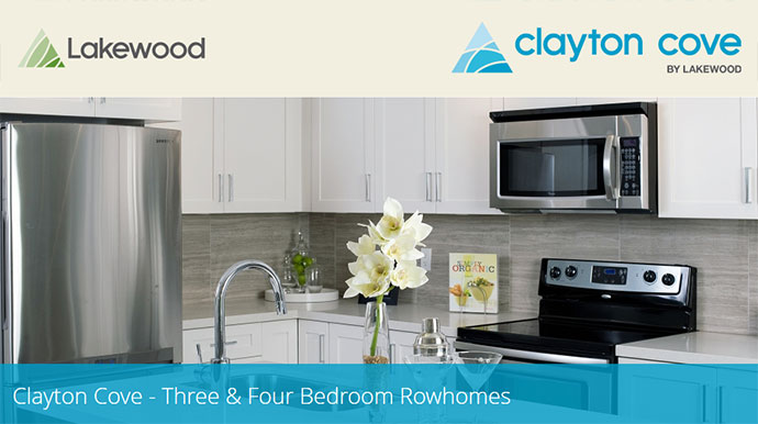 New Surrey Clayton Cove Rowhomes for Sale.