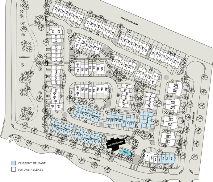 The siteplan for the master planned Townline Clayton Rise Cloverdale townhome community.