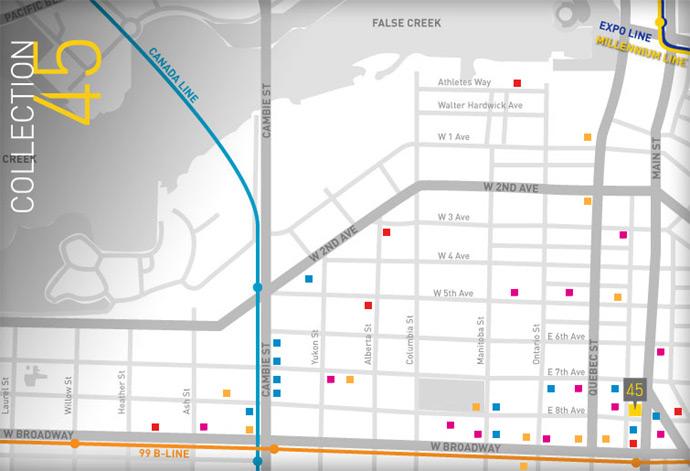 Eastside Vancouver Mount Pleasant neighbourhood map.