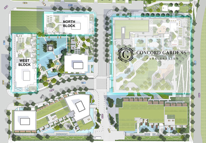 The Park Estates Concord Gardens Richmond master planned condo community site plan.