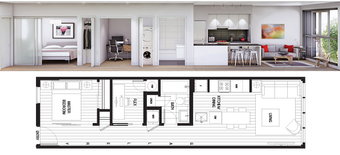 The Cordovan apartment floor plan.