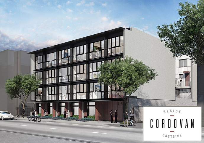 New rendering of the Vancouver Cordovan Apartment Flats and Cityhome project by Boffo Properties.
