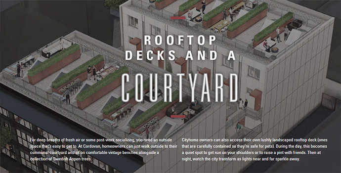 The roof deck at the East Side Vancouver Cordovan condo building.