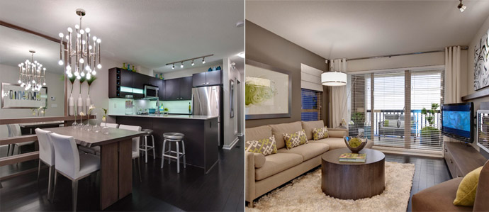 The kitchen and living rooms at the spacious Langley Cornerstone apartment suites now selling from under $200,000.