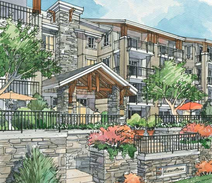 A new rendering of the affordable Langley condominium homes.