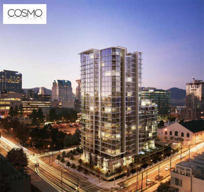 The presale Vancouver COSMO Condos are located on Georgia at Beatty and are designed and built by Concord Pacific developers.