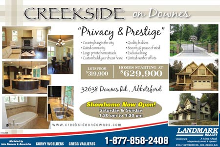 New Fraser Valley subdivision and Abbotsford real estate development at the Creekside on Downes Homes for sale.