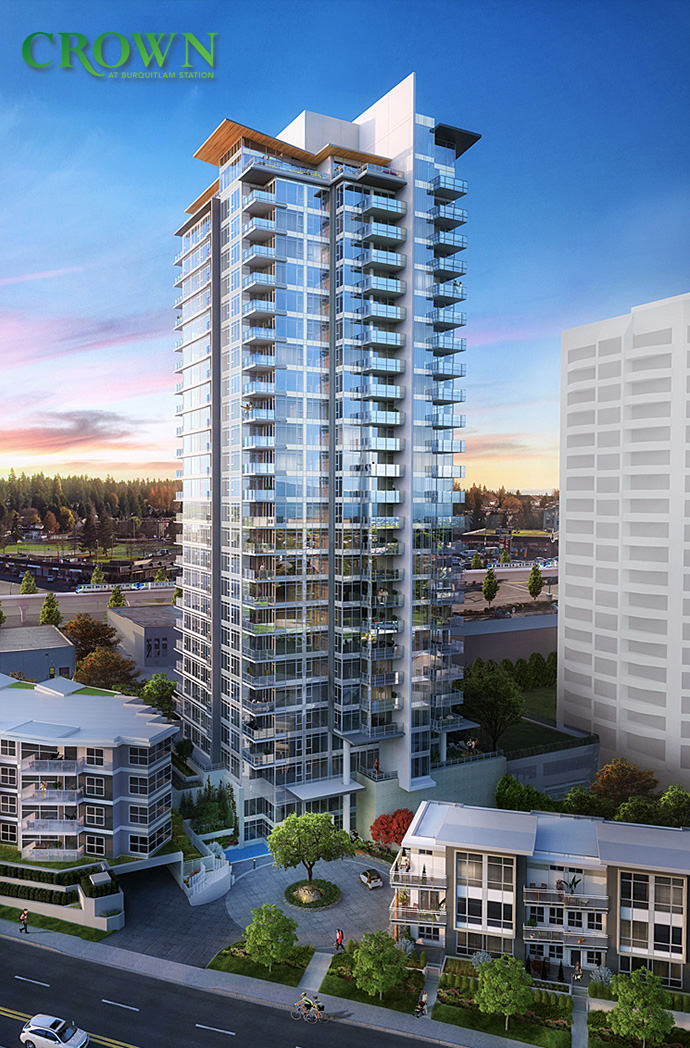 Beautiful rendering of the new Coquitlam Crown at Burquitlam Station condos by Beedie Living.