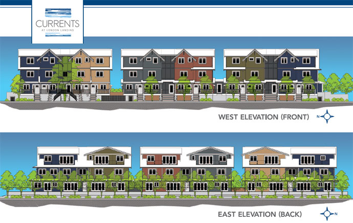 Exterior elevation and facade of the Steveston Currents Condos and townhomes for sale by Penta Builders Group and Oris Consulting.