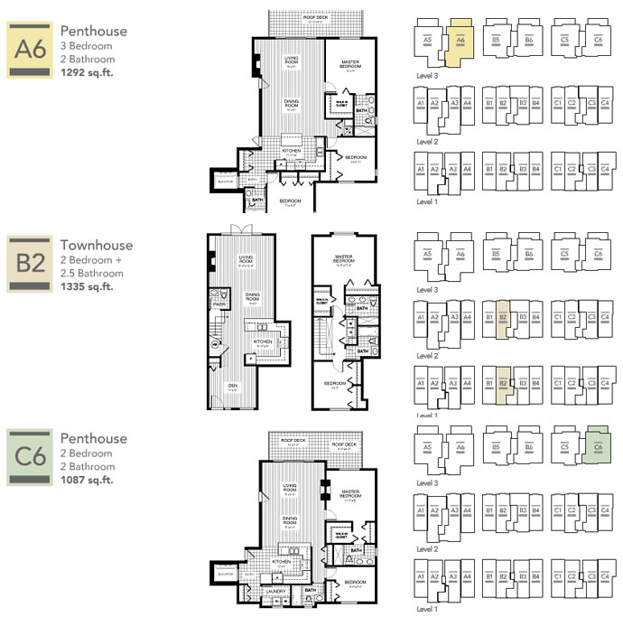 Sample Richmond floorplans featured at London Landing Currents Richmond condominiums for sale.