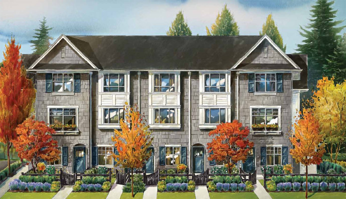 A true rendering of the new Semiahmoo Surrey Dawson & Sawyer townhomes for sale.