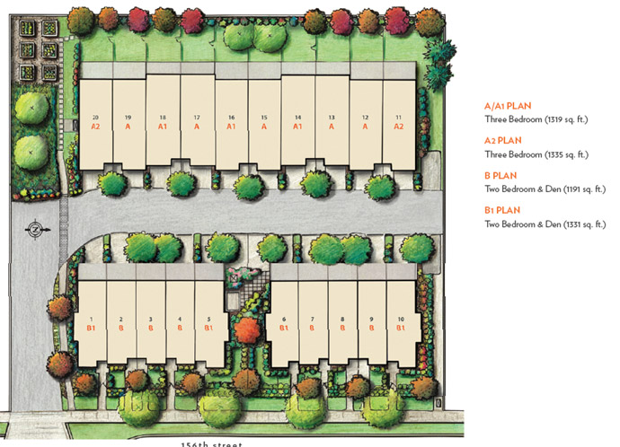 The Dawson and Sawyer Sunnyside Surrey townhouse site plan.