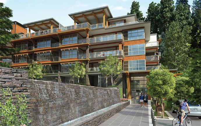 John Bingham Architects designed the West Coast craftsman Destiny North Vancouver condominium building at the Ravenwoods community.