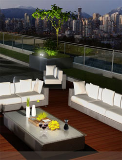 Two rooftop decks, fitness gym and movie room are inside and outside condominium amenities at the new Vancouver District condos by Amacon Developers.